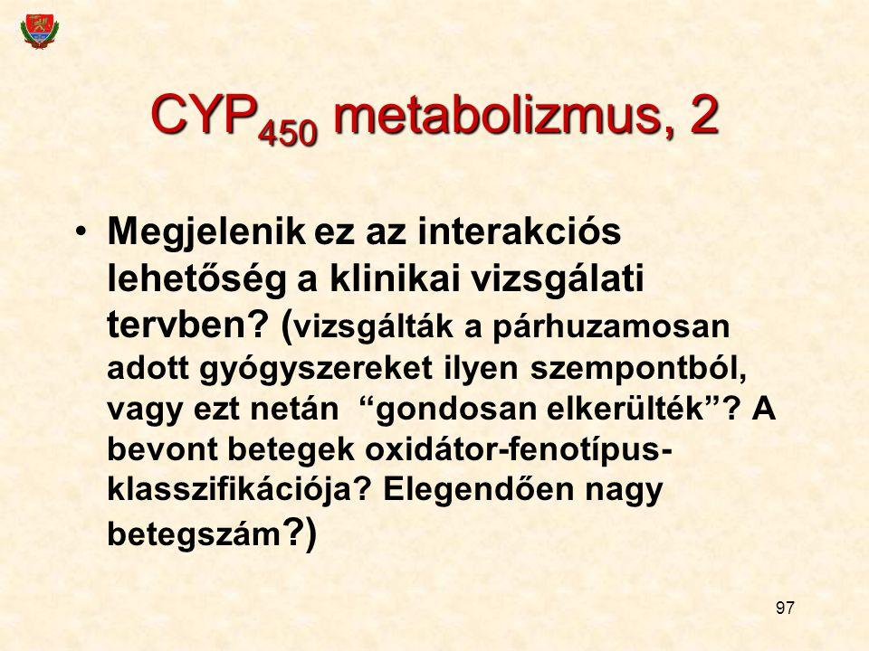97 CYP 450 metabolizmus, 2 Megjelenik ez az interakciós lehetőség a klinikai vizsgálati tervben? ( vizsgálták a párhuzamosan adott gyógyszereket ilyen