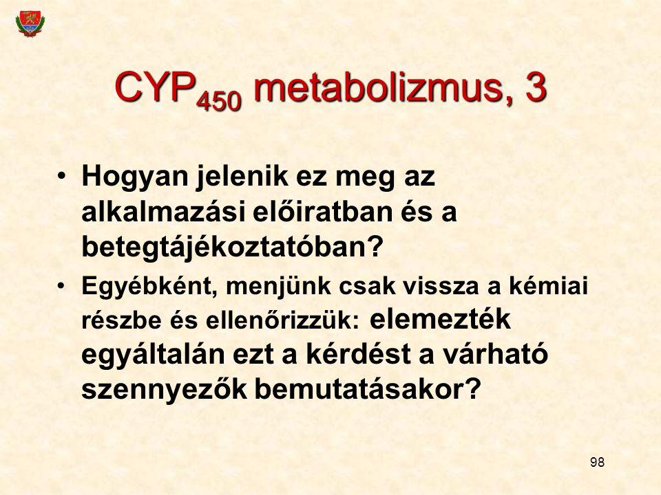 98 CYP 450 metabolizmus, 3 Hogyan jelenik ez meg az alkalmazási előiratban és a betegtájékoztatóban? Egyébként, menjünk csak vissza a kémiai részbe és