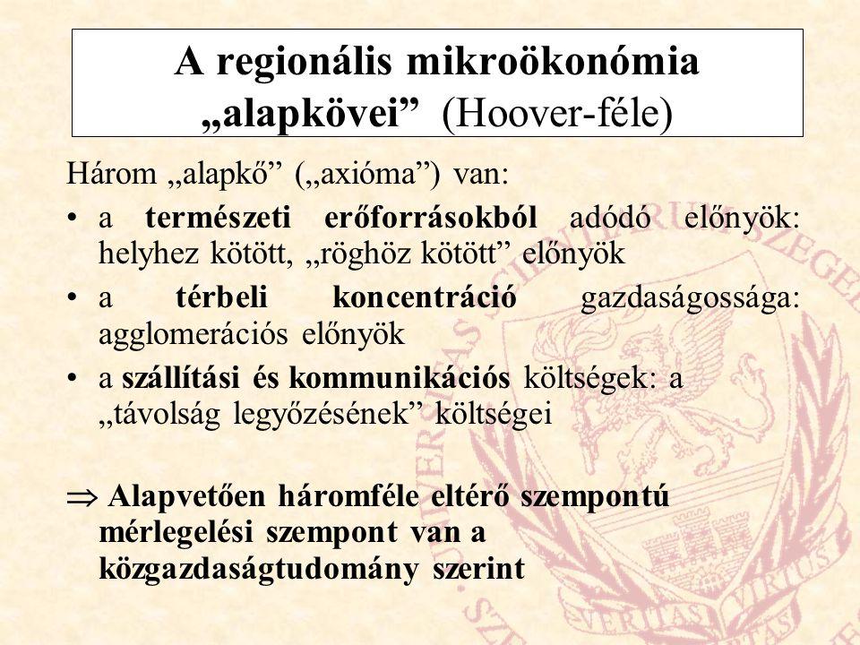 """A regionális mikroökonómia """"alapkövei"""" (Hoover-féle) Három """"alapkő"""" (""""axióma"""") van: a természeti erőforrásokból adódó előnyök: helyhez kötött, """"röghöz"""