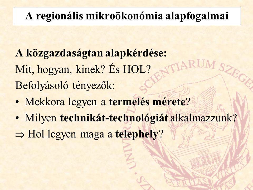 A regionális mikroökonómia alapfogalmai A közgazdaságtan alapkérdése: Mit, hogyan, kinek? És HOL? Befolyásoló tényezők: Mekkora legyen a termelés mére