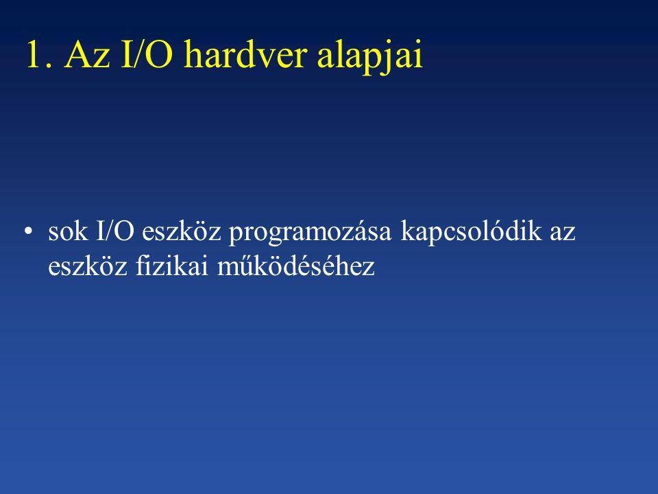 1. Az I/O hardver alapjai sok I/O eszköz programozása kapcsolódik az eszköz fizikai működéséhez