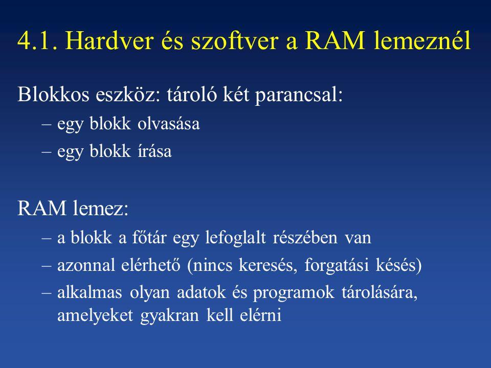 4.1. Hardver és szoftver a RAM lemeznél Blokkos eszköz: tároló két parancsal: –egy blokk olvasása –egy blokk írása RAM lemez: –a blokk a főtár egy lef