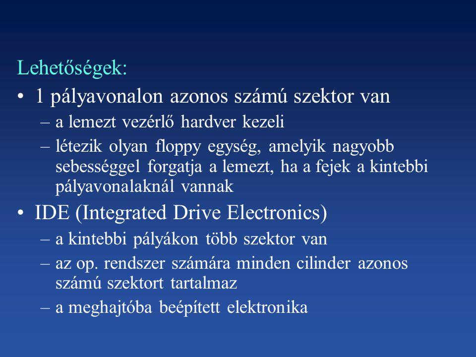 Lehetőségek: 1 pályavonalon azonos számú szektor van –a lemezt vezérlő hardver kezeli –létezik olyan floppy egység, amelyik nagyobb sebességgel forgat