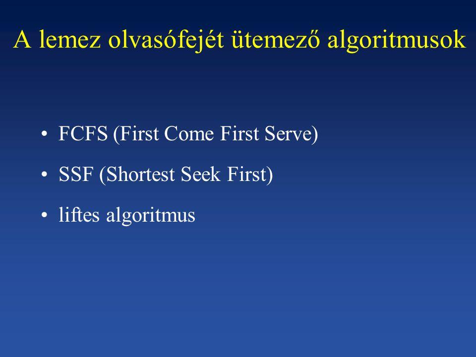 A lemez olvasófejét ütemező algoritmusok FCFS (First Come First Serve) SSF (Shortest Seek First) liftes algoritmus