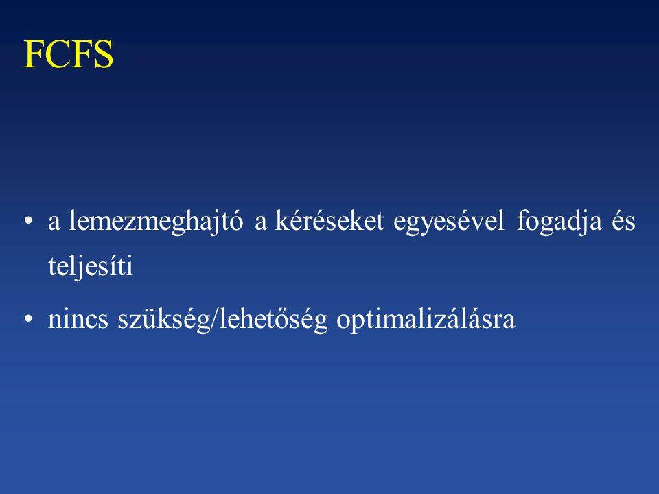 FCFS a lemezmeghajtó a kéréseket egyesével fogadja és teljesíti nincs szükség/lehetőség optimalizálásra