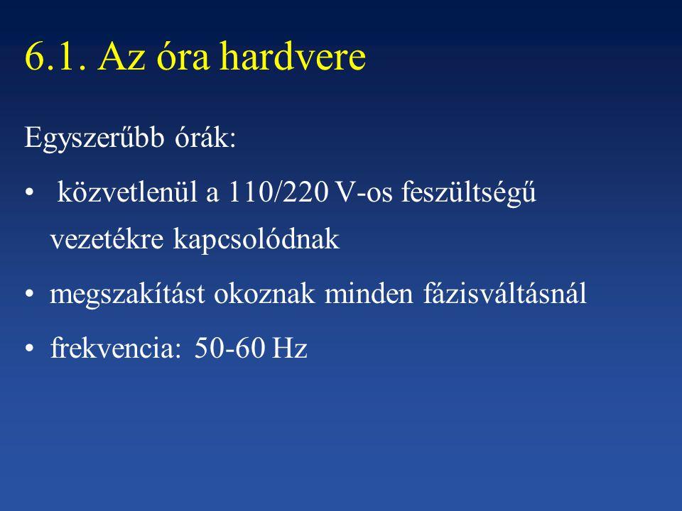 6.1. Az óra hardvere Egyszerűbb órák: közvetlenül a 110/220 V-os feszültségű vezetékre kapcsolódnak megszakítást okoznak minden fázisváltásnál frekven