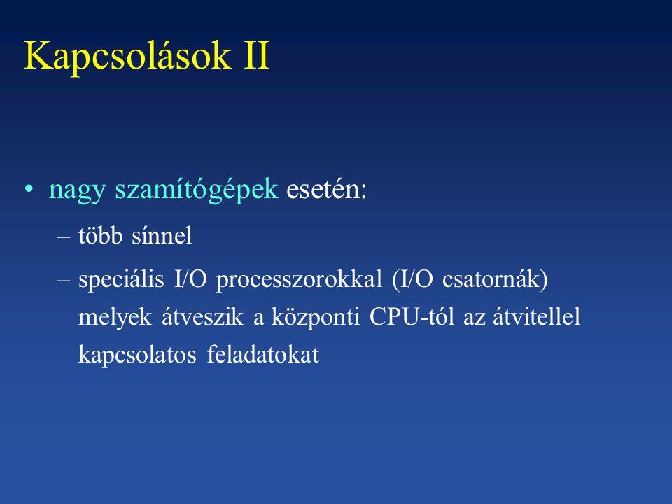 CPU-val történő kapcsolat néhány regiszterrel –memóriába leképezett I/O : ezek a regiszterek részét képezik a szokásos memória címzésű helyeknek –speciális helyek: minden vezérlő ennek a területnek egy bizonyos részét foglalja le