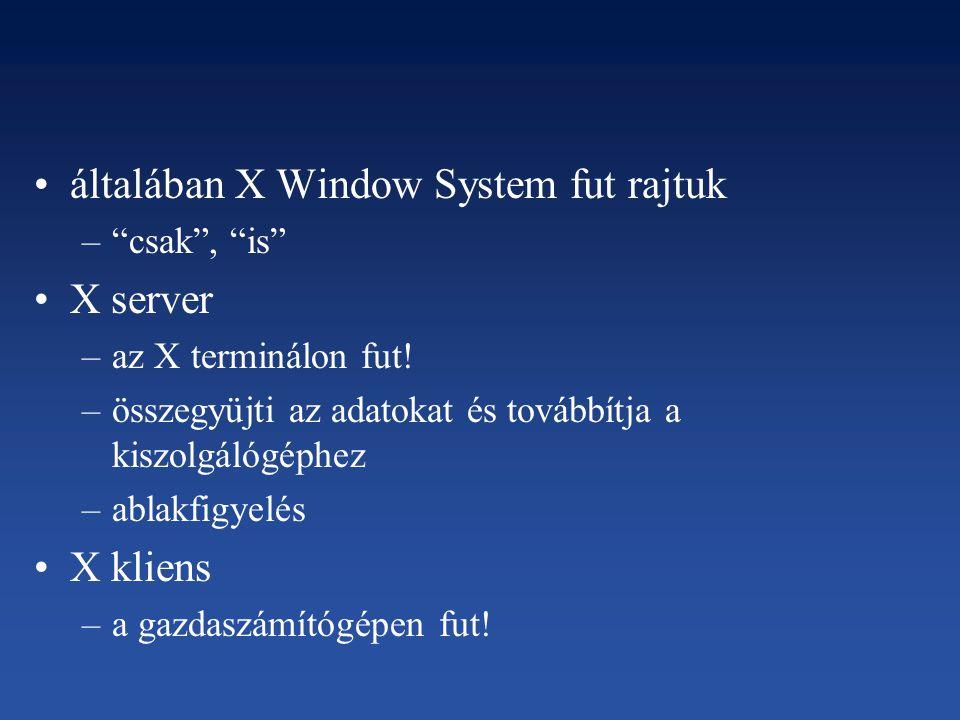 """általában X Window System fut rajtuk –""""csak"""", """"is"""" X server –az X terminálon fut! –összegyüjti az adatokat és továbbítja a kiszolgálógéphez –ablakfigy"""