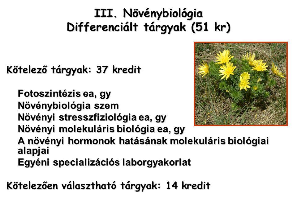 III. Növénybiológia Differenciált tárgyak (51 kr) Kötelező tárgyak: 37 kredit Fotoszintézis ea, gy Növénybiológia szem Növényi stresszfiziológia ea, g