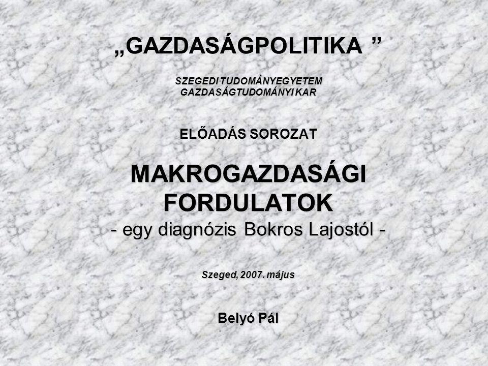 SZEGEDI TUDOMÁNYEGYETEM GAZDASÁGTUDOMÁNYI KAR MAKROGAZDASÁGI FORDULATOK - egy diagnózis Bokros Lajostól - Szeged, 2007.