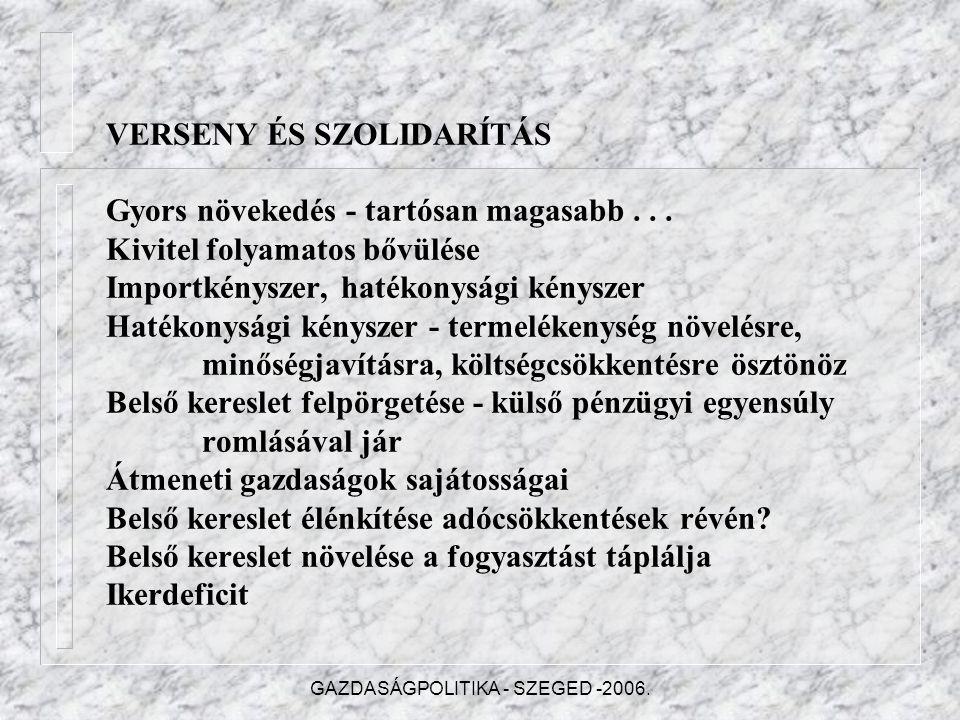 GAZDASÁGPOLITIKA - SZEGED -2006.VERSENY ÉS SZOLIDARÍTÁS Gyors növekedés - tartósan magasabb...