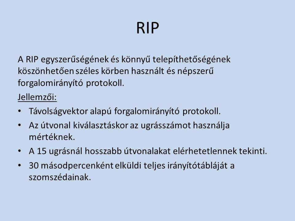 RIP A RIP egyszerűségének és könnyű telepíthetőségének köszönhetően széles körben használt és népszerű forgalomirányító protokoll. Jellemzői: Távolság