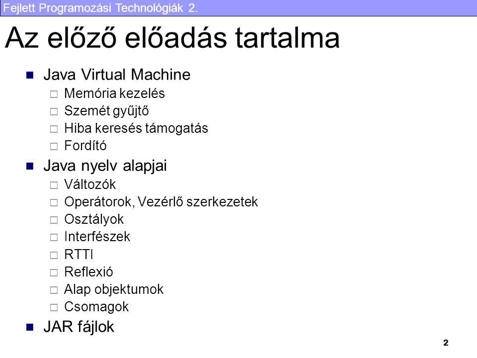 Fejlett Programozási Technológiák 2. 2 Az előző előadás tartalma Java Virtual Machine  Memória kezelés  Szemét gyűjtő  Hiba keresés támogatás  For