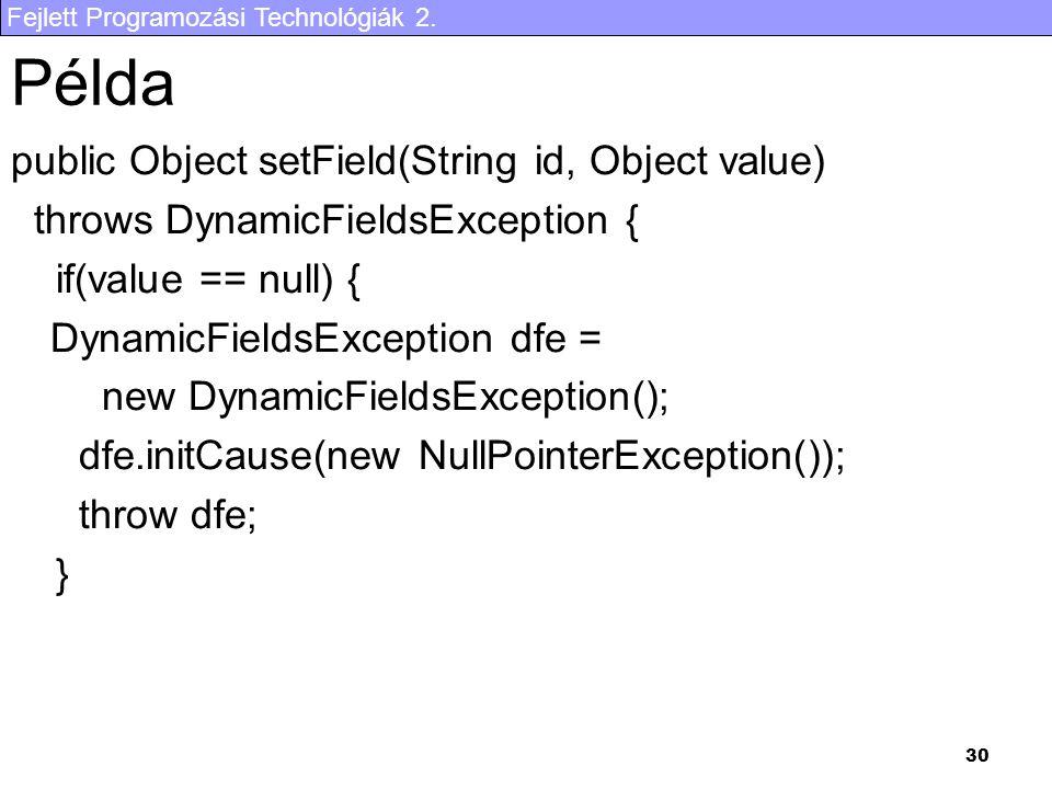 Fejlett Programozási Technológiák 2. 30 Példa public Object setField(String id, Object value) throws DynamicFieldsException { if(value == null) { Dyna