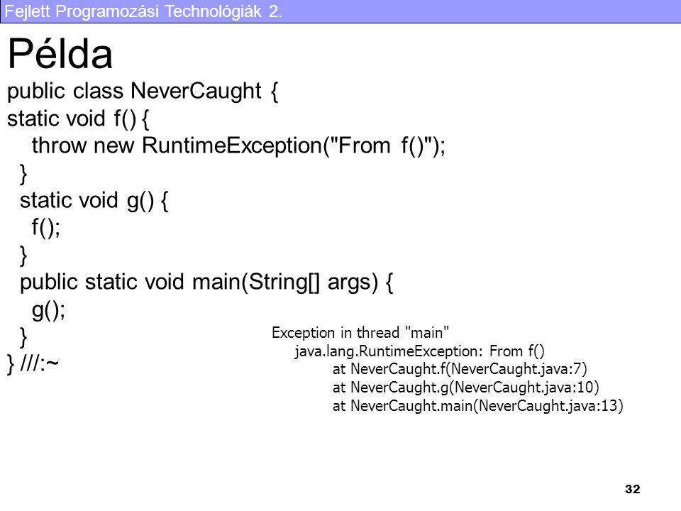 Fejlett Programozási Technológiák 2. 32 Példa public class NeverCaught { static void f() { throw new RuntimeException(