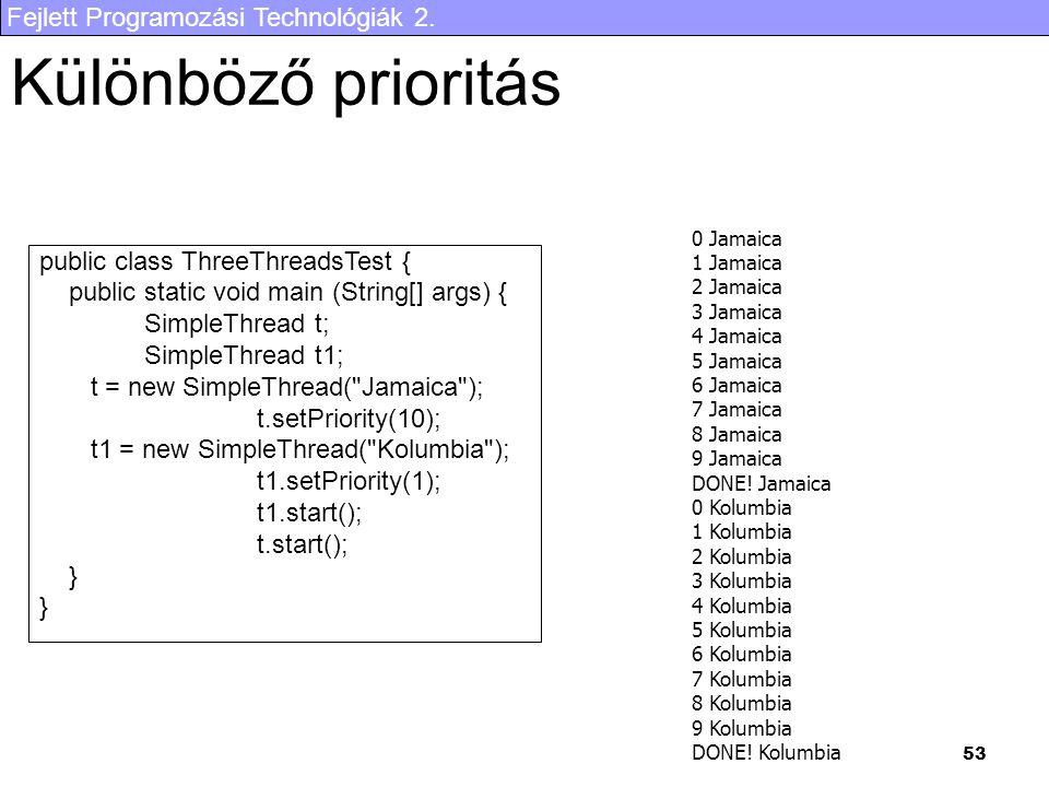 Fejlett Programozási Technológiák 2. 53 Különböző prioritás public class ThreeThreadsTest { public static void main (String[] args) { SimpleThread t;