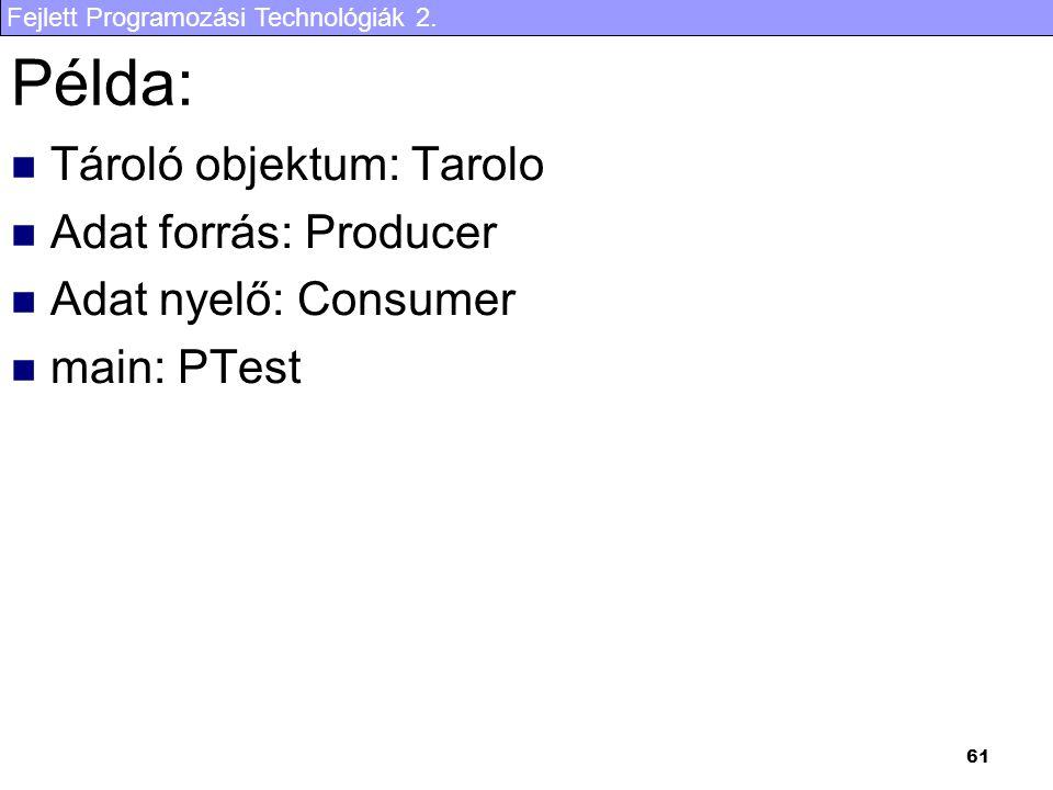 Fejlett Programozási Technológiák 2. 61 Példa: Tároló objektum: Tarolo Adat forrás: Producer Adat nyelő: Consumer main: PTest
