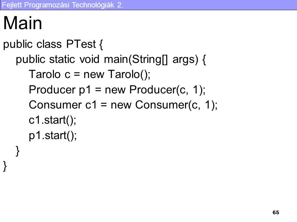 Fejlett Programozási Technológiák 2. 65 public class PTest { public static void main(String[] args) { Tarolo c = new Tarolo(); Producer p1 = new Produ