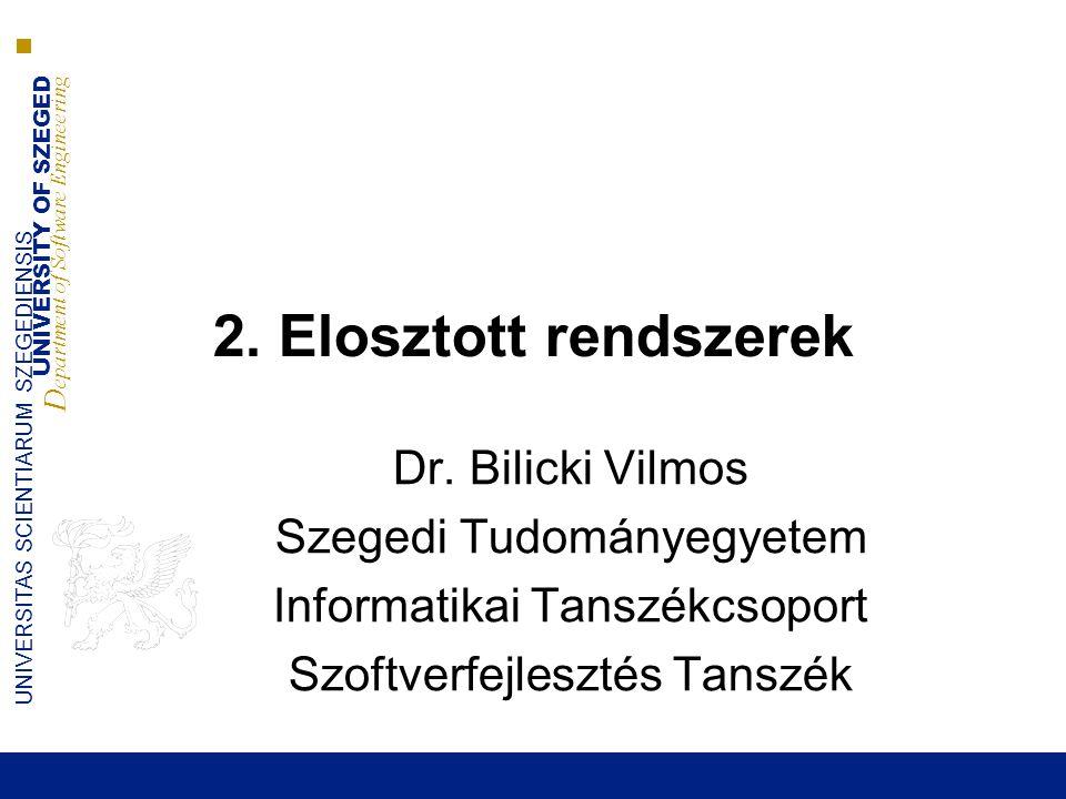 UNIVERSITY OF SZEGED D epartment of Software Engineering UNIVERSITAS SCIENTIARUM SZEGEDIENSIS SOA koncepció 2014.