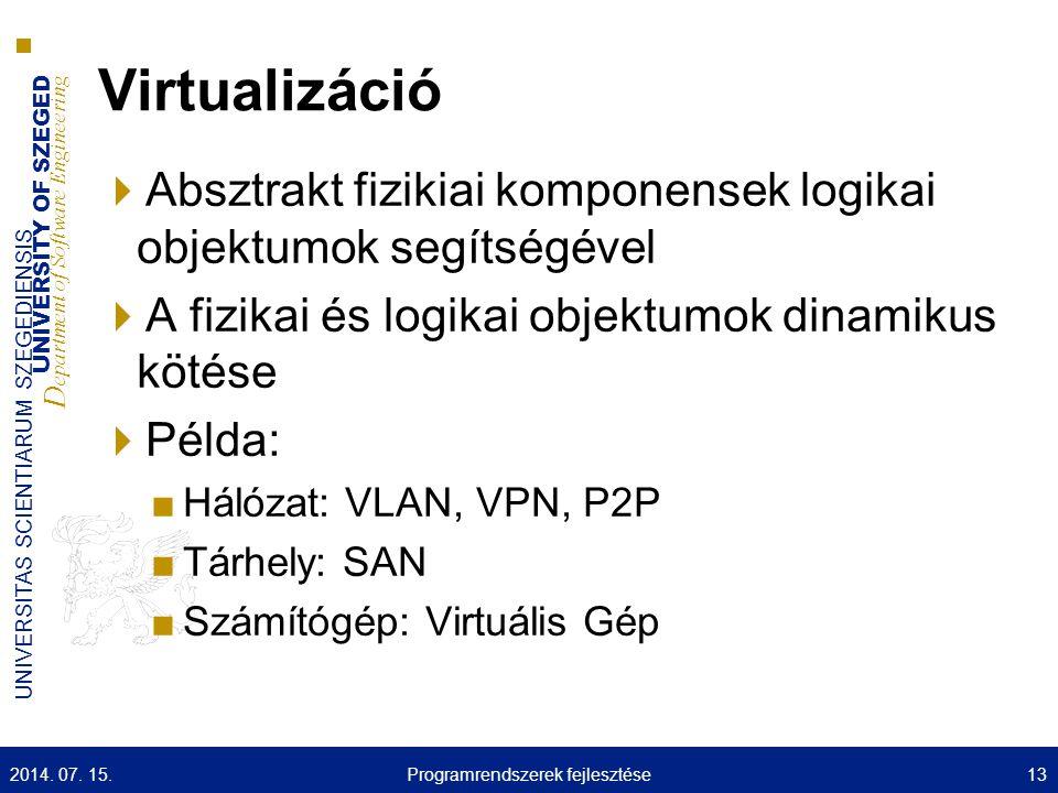 UNIVERSITY OF SZEGED D epartment of Software Engineering UNIVERSITAS SCIENTIARUM SZEGEDIENSIS Virtualizáció  Absztrakt fizikiai komponensek logikai objektumok segítségével  A fizikai és logikai objektumok dinamikus kötése  Példa: ■Hálózat: VLAN, VPN, P2P ■Tárhely: SAN ■Számítógép: Virtuális Gép 2014.