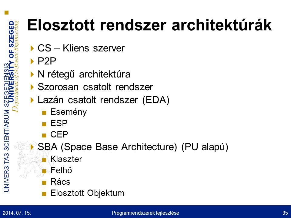 UNIVERSITY OF SZEGED D epartment of Software Engineering UNIVERSITAS SCIENTIARUM SZEGEDIENSIS Elosztott rendszer architektúrák  CS – Kliens szerver  P2P  N rétegű architektúra  Szorosan csatolt rendszer  Lazán csatolt rendszer (EDA) ■Esemény ■ESP ■CEP  SBA (Space Base Architecture) (PU alapú) ■Klaszter ■Felhő ■Rács ■Elosztott Objektum 2014.