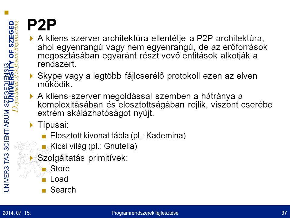 UNIVERSITY OF SZEGED D epartment of Software Engineering UNIVERSITAS SCIENTIARUM SZEGEDIENSIS P2P  A kliens szerver architektúra ellentétje a P2P architektúra, ahol egyenrangú vagy nem egyenrangú, de az erőforrások megosztásában egyaránt részt vevő entitások alkotják a rendszert.