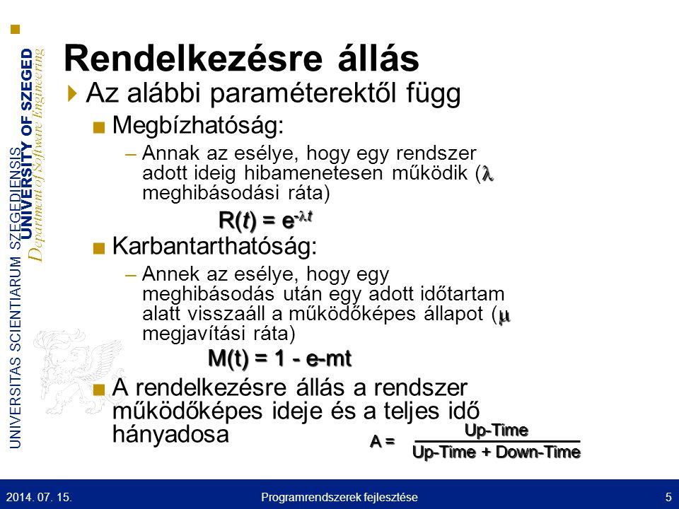 UNIVERSITY OF SZEGED D epartment of Software Engineering UNIVERSITAS SCIENTIARUM SZEGEDIENSIS Architektúra típusok  Monolit ■Tipikusan eljárás szintű struktúrálás  Objektum orientált ■Objektum szintű struktúrálás ■Skandináv vs.