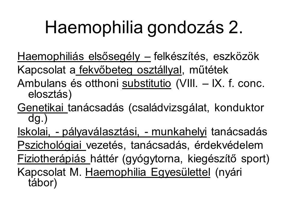 Haemophilia gondozás 2. Haemophiliás elsősegély – felkészítés, eszközök Kapcsolat a fekvőbeteg osztállyal, műtétek Ambulans és otthoni substitutio (VI