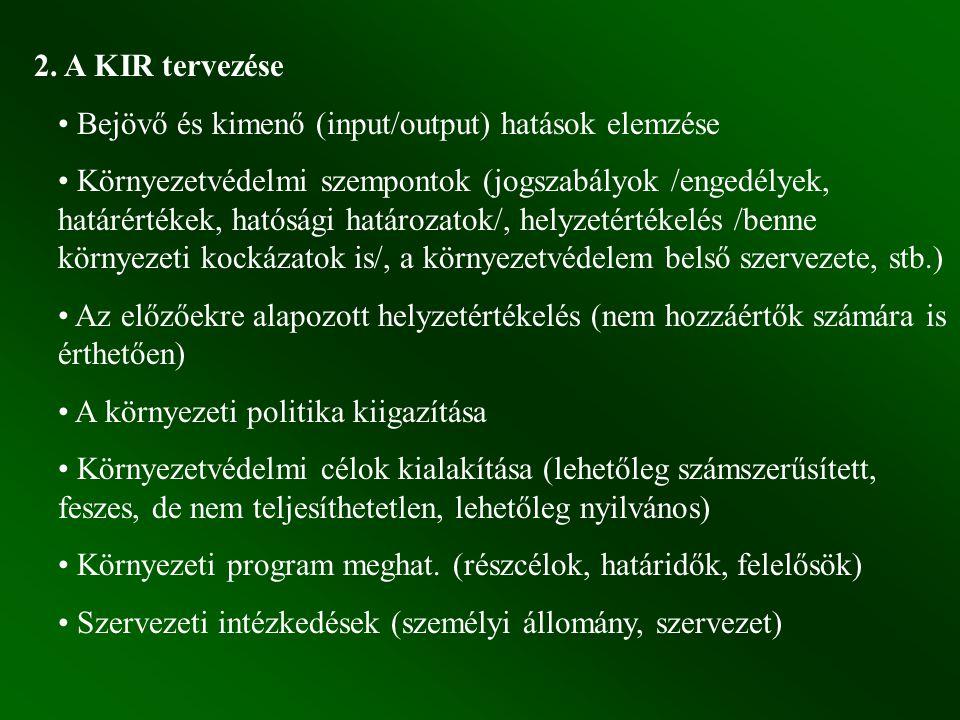 2. A KIR tervezése Bejövő és kimenő (input/output) hatások elemzése Környezetvédelmi szempontok (jogszabályok /engedélyek, határértékek, hatósági hatá