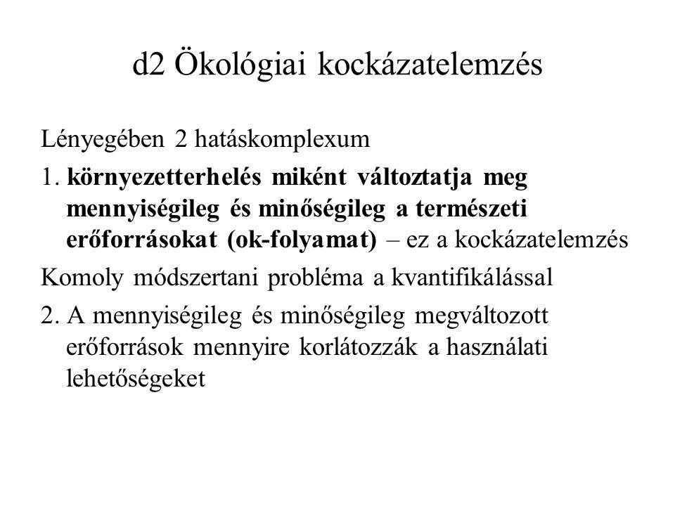 d2 Ökológiai kockázatelemzés Lényegében 2 hatáskomplexum 1.