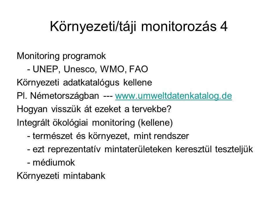 Környezeti/táji monitorozás 4 Monitoring programok - UNEP, Unesco, WMO, FAO Környezeti adatkatalógus kellene Pl.