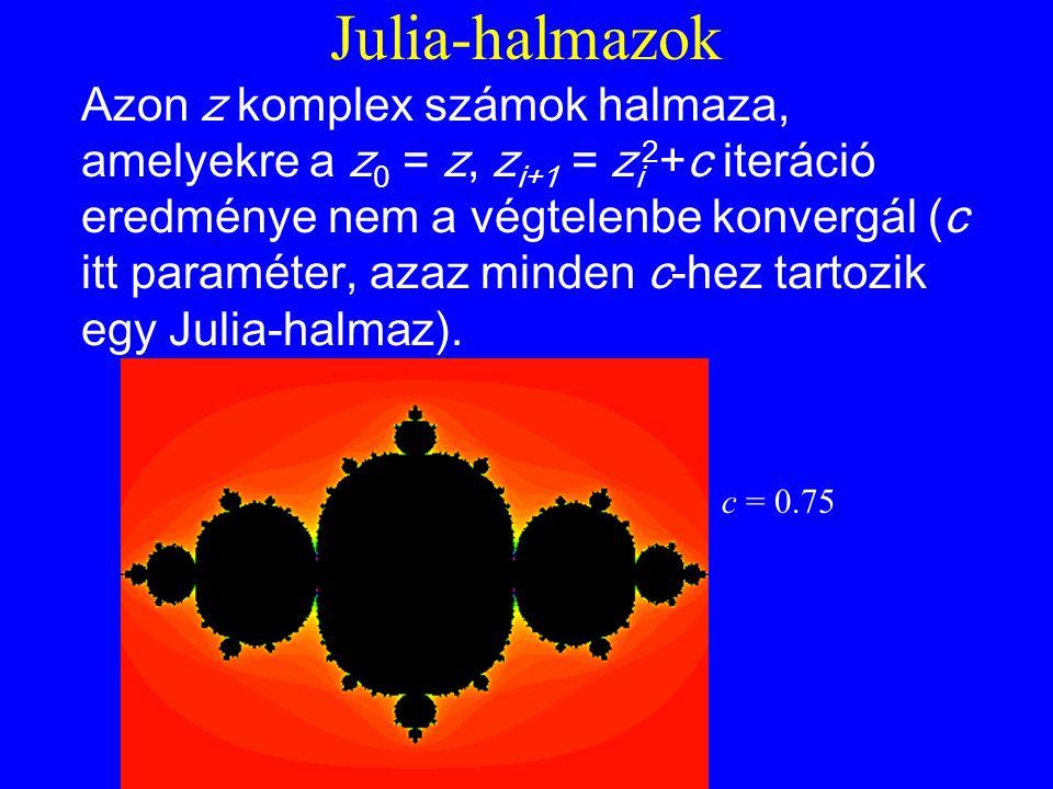 Julia-halmazok Azon z komplex számok halmaza, amelyekre a z 0 = z, z i+1 = z i 2 +c iteráció eredménye nem a végtelenbe konvergál (c itt paraméter, azaz minden c-hez tartozik egy Julia-halmaz).