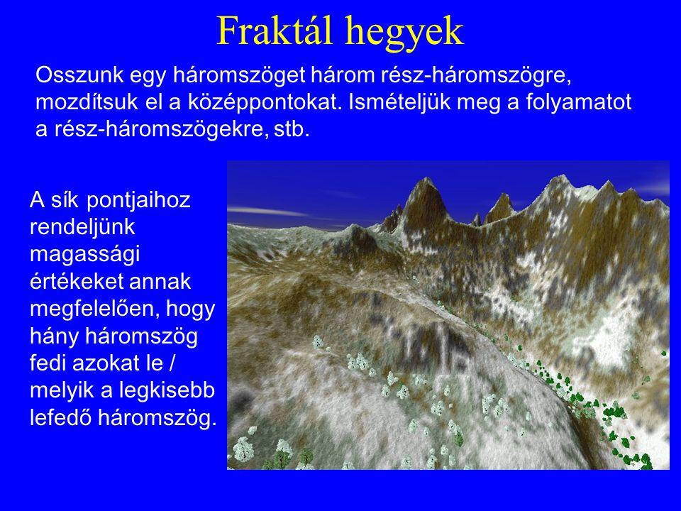 Fraktál hegyek Osszunk egy háromszöget három rész-háromszögre, mozdítsuk el a középpontokat.