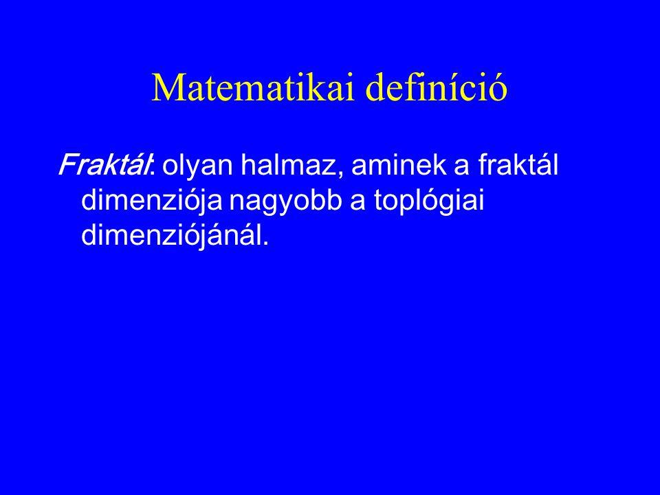 Matematikai definíció Fraktál: olyan halmaz, aminek a fraktál dimenziója nagyobb a toplógiai dimenziójánál.