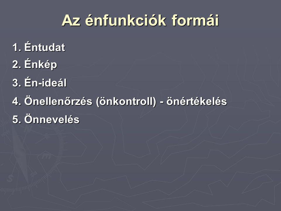 Az énfunkciók formái 1. Éntudat 2. Énkép 3. Én-ideál 4. Önellenőrzés (önkontroll) - önértékelés 5. Önnevelés