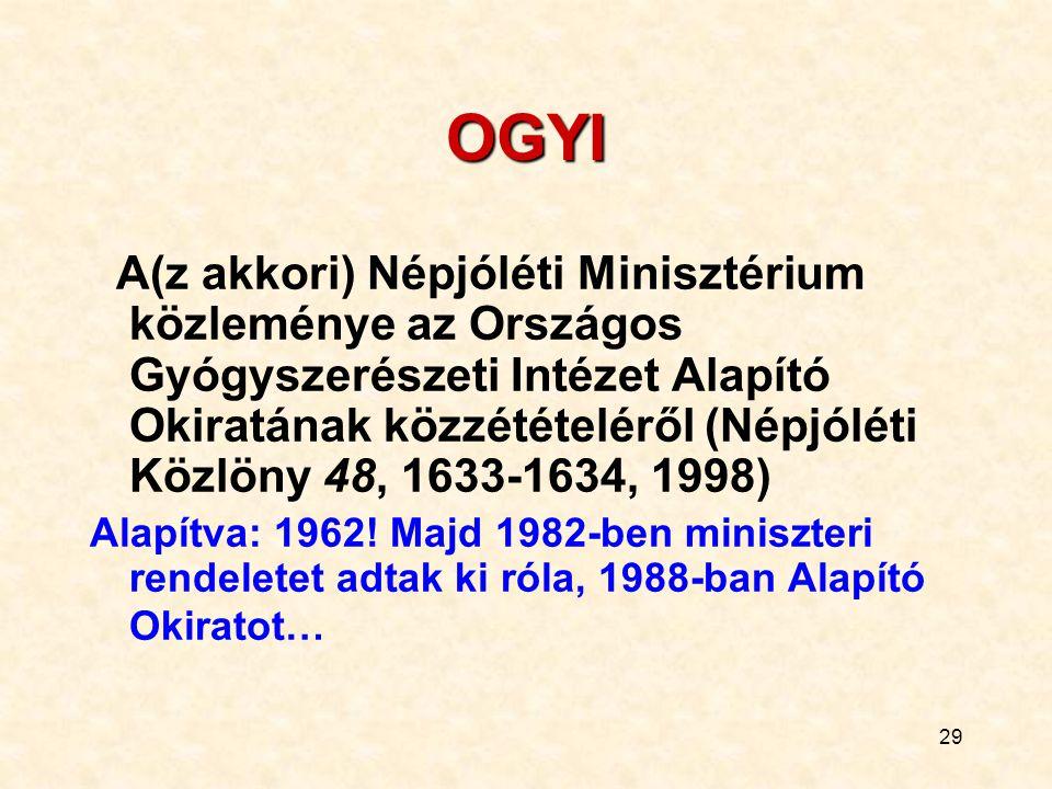 29 OGYI A(z akkori) Népjóléti Minisztérium közleménye az Országos Gyógyszerészeti Intézet Alapító Okiratának közzétételéről (Népjóléti Közlöny 48, 163
