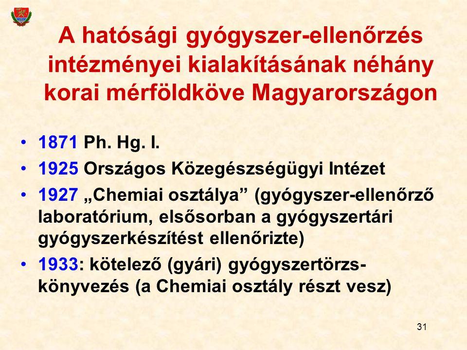 31 A hatósági gyógyszer-ellenőrzés intézményei kialakításának néhány korai mérföldköve Magyarországon 1871 Ph. Hg. I. 1925 Országos Közegészségügyi In