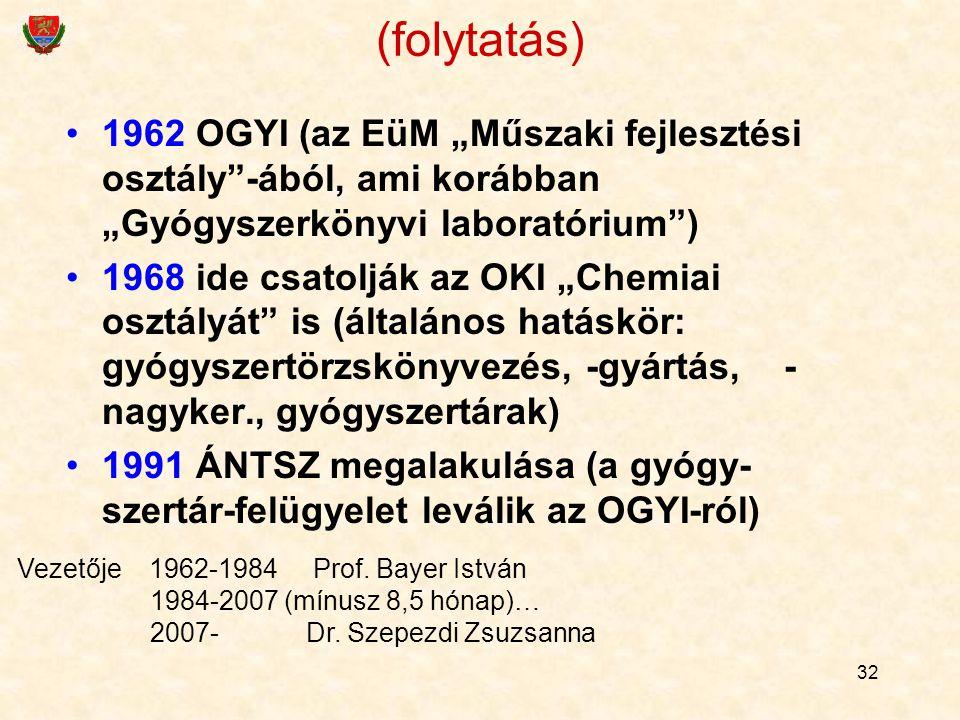 """32 1962 OGYI (az EüM """"Műszaki fejlesztési osztály""""-ából, ami korábban """"Gyógyszerkönyvi laboratórium"""") 1968 ide csatolják az OKI """"Chemiai osztályát"""" is"""
