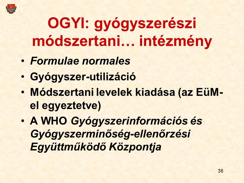 OGYI: gyógyszerészi módszertani… intézmény Formulae normales Gyógyszer-utilizáció Módszertani levelek kiadása (az EüM- el egyeztetve) A WHO Gyógyszeri