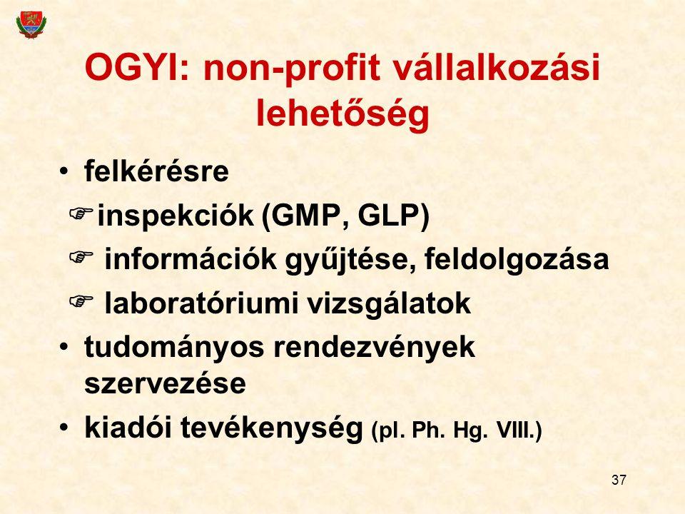 37 OGYI: non-profit vállalkozási lehetőség felkérésre  inspekciók (GMP, GLP)  információk gyűjtése, feldolgozása  laboratóriumi vizsgálatok tudomán