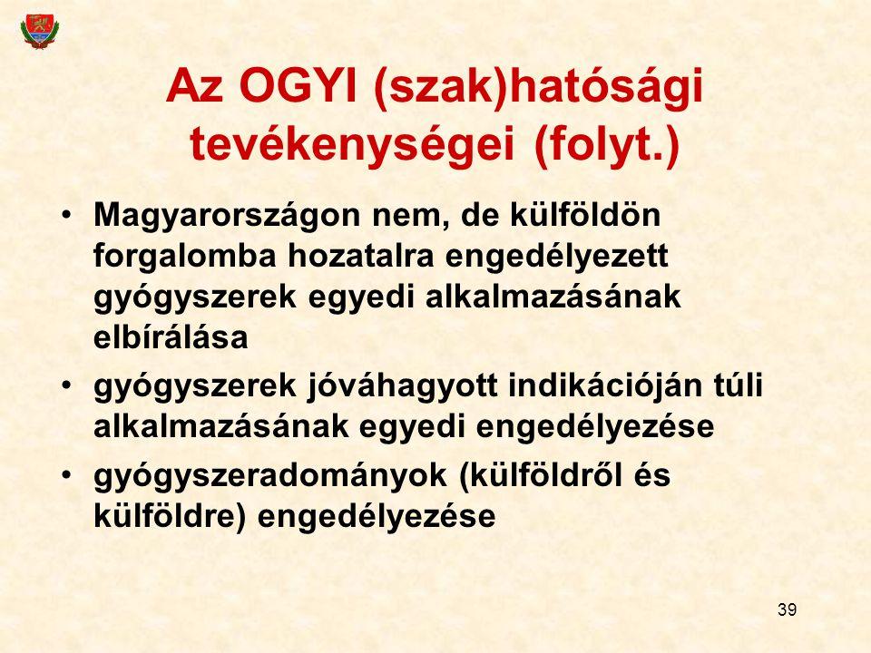 39 Az OGYI (szak)hatósági tevékenységei (folyt.) Magyarországon nem, de külföldön forgalomba hozatalra engedélyezett gyógyszerek egyedi alkalmazásának