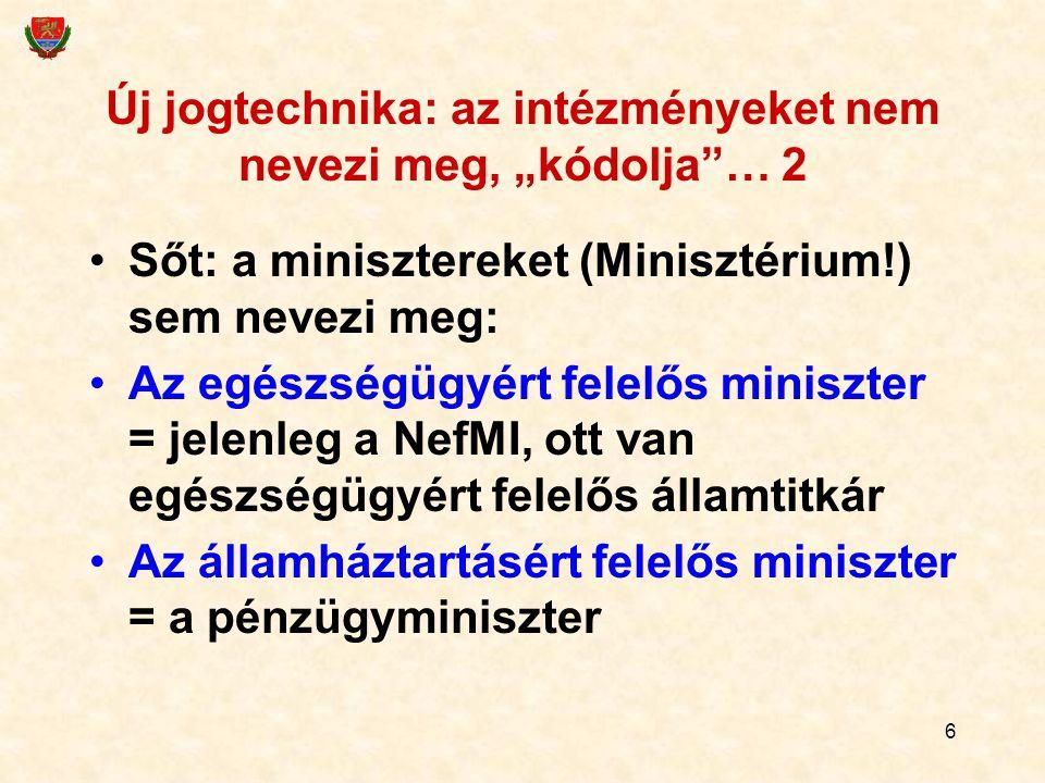 """6 Új jogtechnika: az intézményeket nem nevezi meg, """"kódolja""""… 2 Sőt: a minisztereket (Minisztérium!) sem nevezi meg: Az egészségügyért felelős miniszt"""