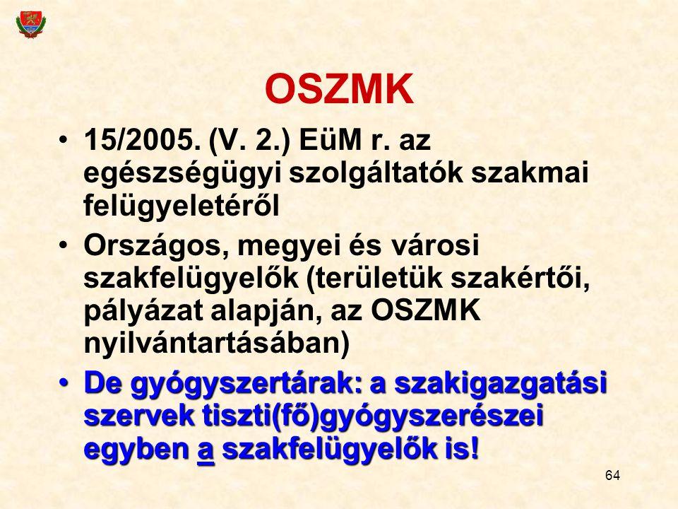 64 OSZMK 15/2005. (V. 2.) EüM r. az egészségügyi szolgáltatók szakmai felügyeletéről Országos, megyei és városi szakfelügyelők (területük szakértői, p
