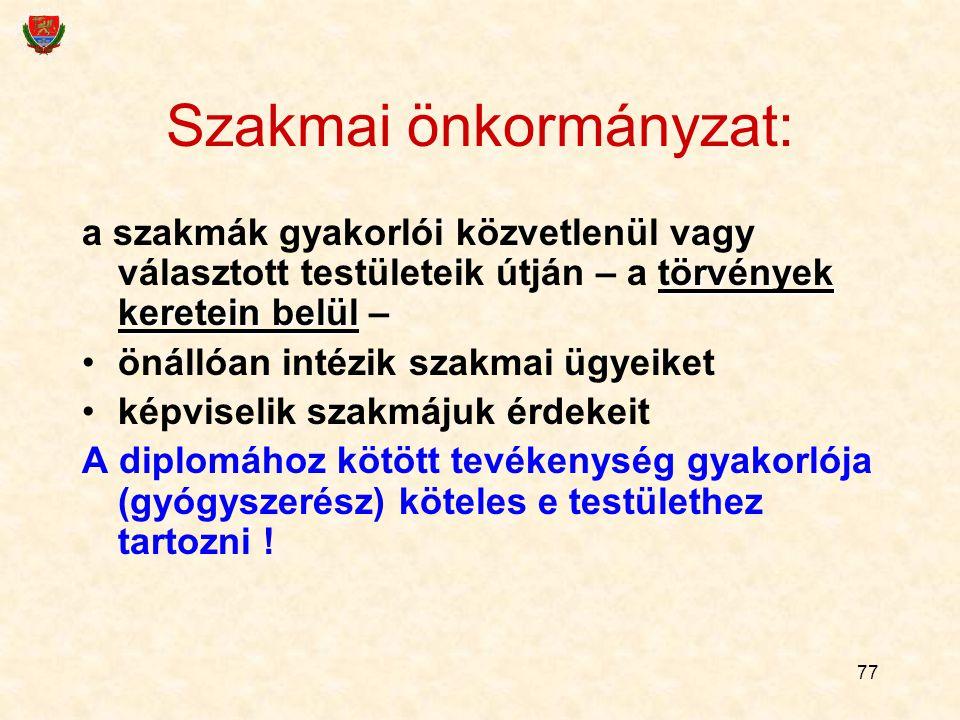 77 Szakmai önkormányzat: törvények keretein belül a szakmák gyakorlói közvetlenül vagy választott testületeik útján – a törvények keretein belül – öná