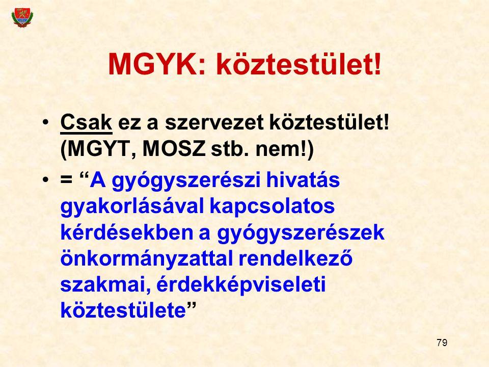 """79 MGYK: köztestület! Csak ez a szervezet köztestület! (MGYT, MOSZ stb. nem!) = """"A gyógyszerészi hivatás gyakorlásával kapcsolatos kérdésekben a gyógy"""