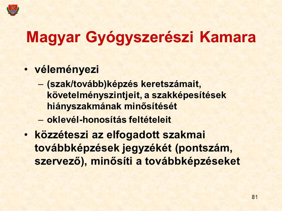 81 Magyar Gyógyszerészi Kamara véleményezi –(szak/tovább)képzés keretszámait, követelményszintjeit, a szakképesítések hiányszakmának minősítését –okle