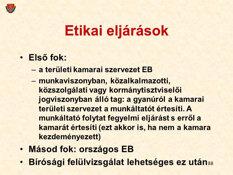 88 Etikai eljárások Első fok: –a területi kamarai szervezet EB –munkaviszonyban, közalkalmazotti, közszolgálati vagy kormánytisztviselői jogviszonyban