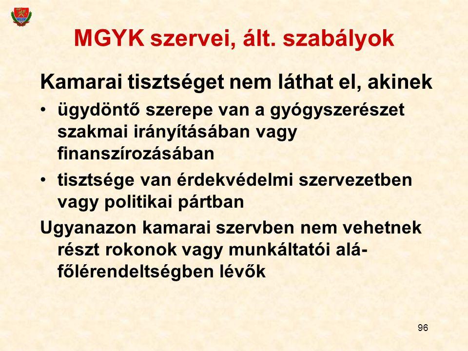 96 MGYK szervei, ált. szabályok Kamarai tisztséget nem láthat el, akinek ügydöntő szerepe van a gyógyszerészet szakmai irányításában vagy finanszírozá