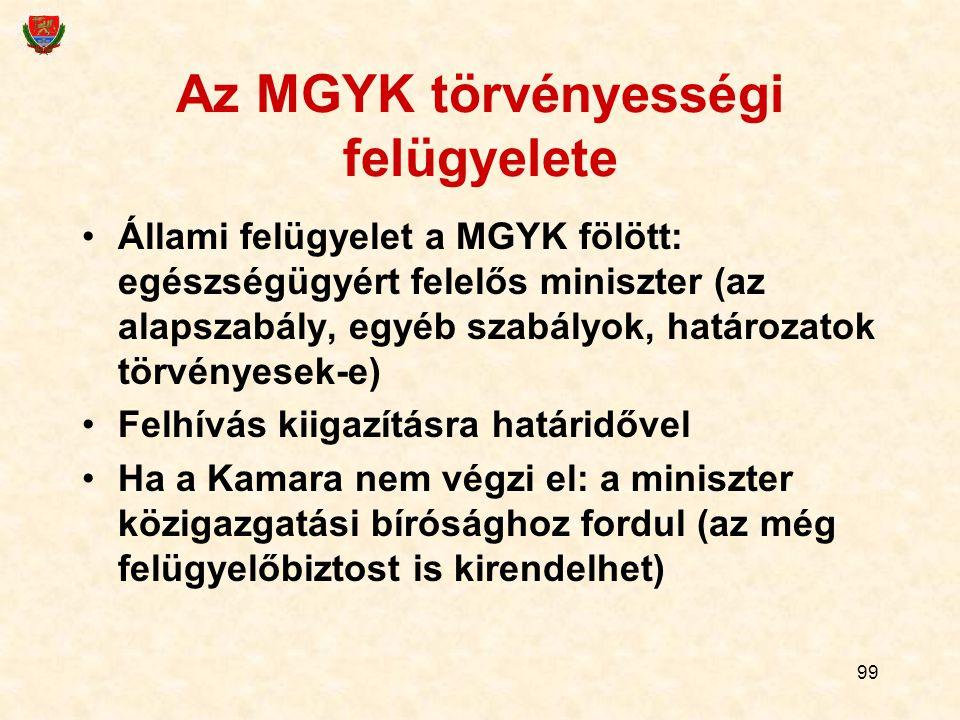 99 Az MGYK törvényességi felügyelete Állami felügyelet a MGYK fölött: egészségügyért felelős miniszter (az alapszabály, egyéb szabályok, határozatok t