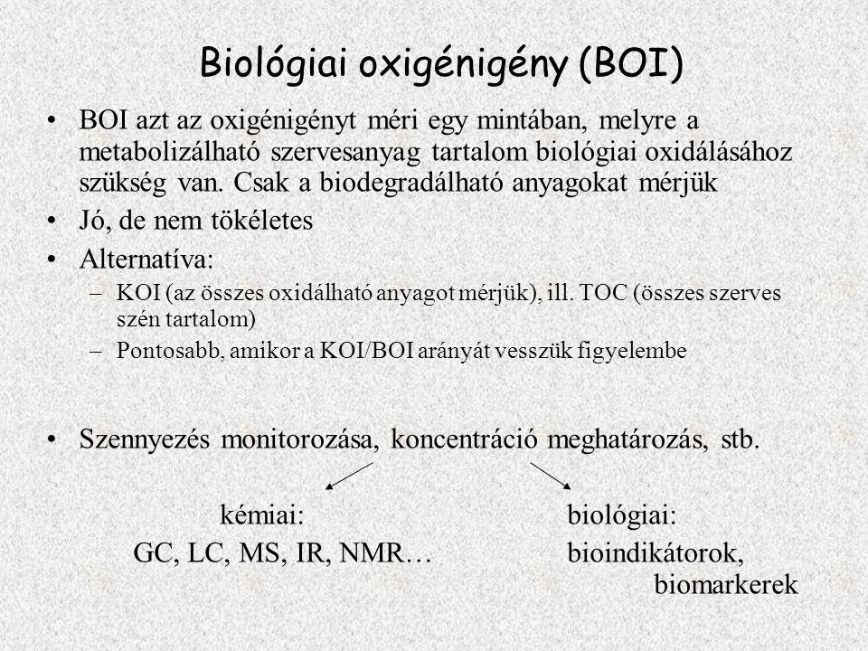 Biológiai oxigénigény (BOI) BOI azt az oxigénigényt méri egy mintában, melyre a metabolizálható szervesanyag tartalom biológiai oxidálásához szükség v